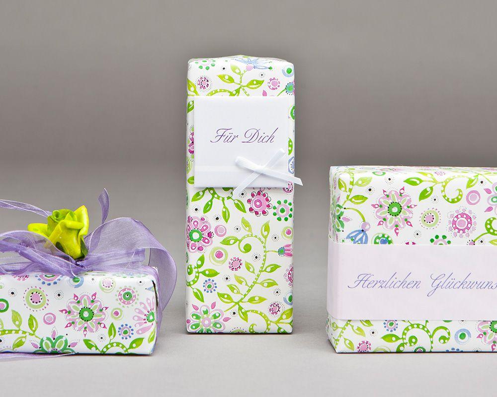 Eau de Parfum Geschenkverpackung florales Muster mit Spruechen