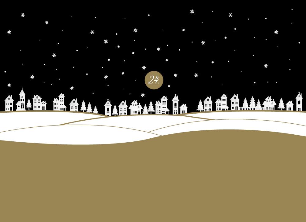 soschoenanders Geschenkverpackung christmasnight verschneite Landschaft mit Schneeflocken am Himmel