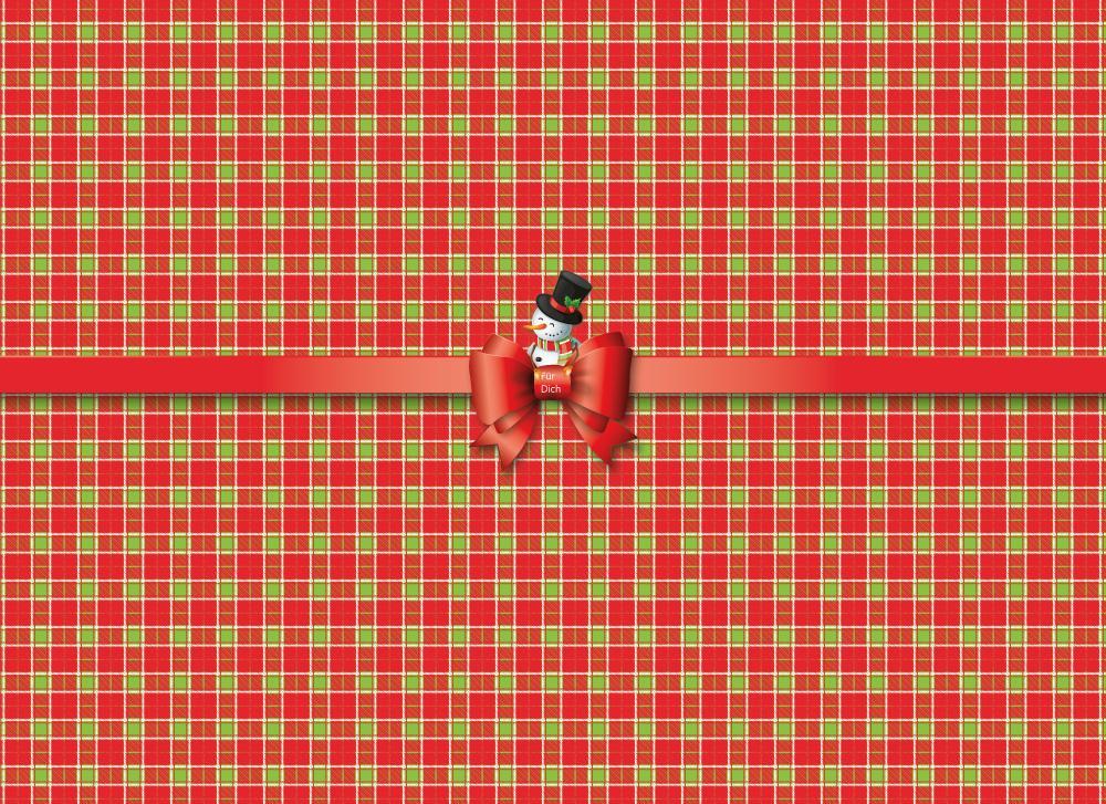 soschoenanders Geschenkverpackung sweetsnowman gruen rotes Karo mit roter Schleife und Schneemann